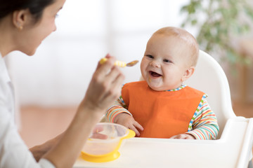 Young mother feeding her baby son with puree
