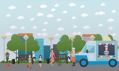 City public park vector flat illustration