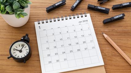 Calendar 2018 with clock