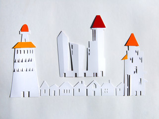 Paper cut design. City with skyscrapers and townhouses. Abstract background