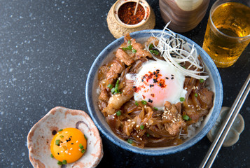 Japanese beef bowl or gyudon in Japanese call.