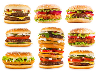 various hamburgers isolated on white background