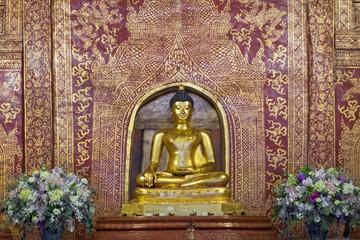 Chiangmai,Thailand-December 31,2017, Phra Sihing Buddha statue at Wat Phra Sing Waramahavihan, Chiangmai, Thailand.