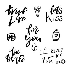 Happy Valentines day icons with calligraphy on white. Template for Greetings, Congratulations, Housewarming posters, Invitation, Photo overlay. Vector illustration