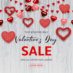 Happy Valentine's Day Sale Background. Romantic composition with garlands from paper. Beautiful backdrop with heart from threads on wooden texture. Vector illustration.
