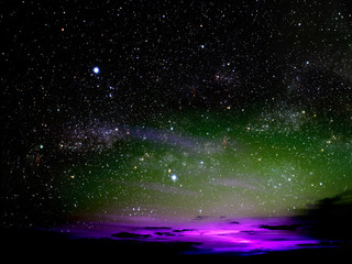 light of colorful cloud in night sky stars on universe