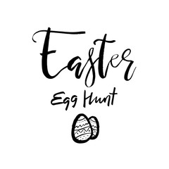 Happy Easter Egg Hunt card with calligraphy text. Vector Template for Greetings, Congratulations, Prints, Invitations, Photo overlays. Hand lettering design for Holiday Poster