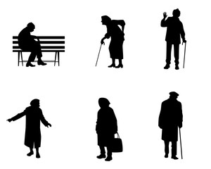 Silhouettes of older people