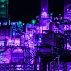 Przemysłowe Futurystyczne Fioletowe Tło