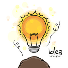 New idea. Head with a glowing lightbulb. Vector.