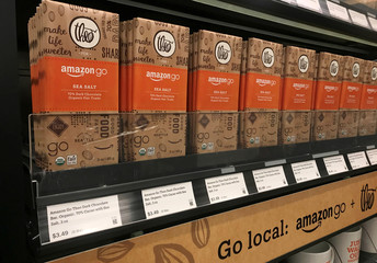 Amazon-branded chocolate bars are seen in the company's convenience store Amazon Go without checkout lines, in Seattle
