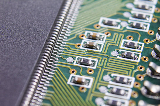 Processor pin and component closeup photo