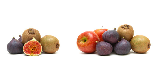 figs, apples and kiwi isolated on white background