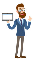 Hipster Businessman with crossed fingers holding tablet PC