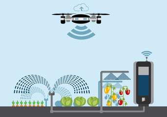 Wall Mural - Internet of things in agriculture. Smart farm with wireless drone control. Vector illustration.