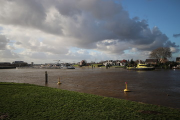 The Algerakering, large water barrier to protect the land below sealevel behind it in Krimpen aan den IJssel, The Netherlands