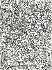 Adult Coloring book page for adults or kids. Black vector illustration template with fantastic flowers