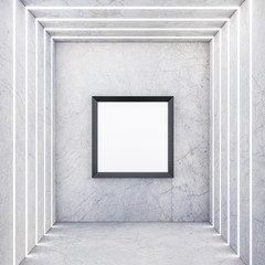 Square black Frame on concrete wall with light stripes, 3d rendering