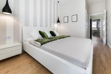 Modern bedroom in white finishing