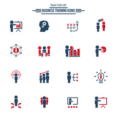 Simple training icon set. Universal training icons to use for web and mobile UI, basic UI training elements