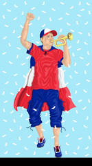 """France Soccer Fan with Bugle"" French supporter, confetti papers and background are in different layers."