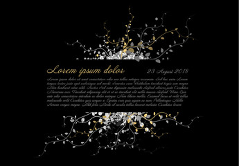 Funeral card template with white and golden flowers