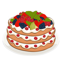 Pie with cream and berries, vector drawing, painted dessert. Layer cake with strawberry, blackberry, currant and kiwi fruit on the plate isolated on white background