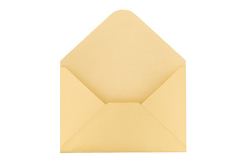 Open yellow paper envelope isolated on white background.