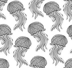 Seamless pattern with Hand drawn jellyfish for adult Coloring Page in zentangle style. Uncolored stylized jellyfish illustration with high details isolated on white background vector