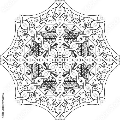 Coloring Pages Adult Book Tibetan Mandala Vector Illustration