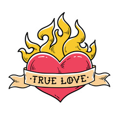 Flaming Heart Tattoo with ribbon. True love. Heart burning in fire. Ribbon wraps around red heart. Old school style.