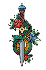 Vector tattoo dagger with snake. Dagger decorated with large blue sapphire. Snake wraps around ancient oriental dagger.