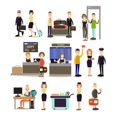 Airport people vector flat icon set