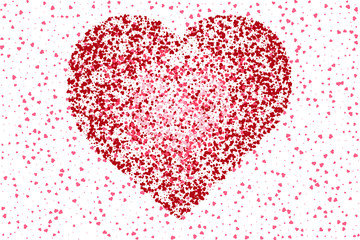 Beautiful romantic background of many red hearts on a white background. Valentines day design, greeting and wedding cards, web site. Vector eps 10.