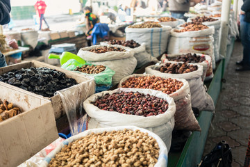 Typical seeds and nuts waiting for buyers on Cantal Asian bazaar