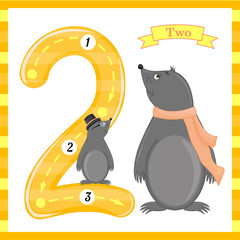 Cute children Flashcard number one tracing with 2 moles for kids learning to count and to write. learning the numbers 0-10, Flash Cards, educational preschool activities, worksheets for kids