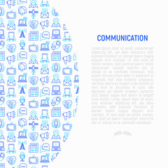 Communication concept with thin line icons: e-mail, newspaper, letter, chat, tv, support, video call, microphone. Modern vector illustration for banner, print media, web page.