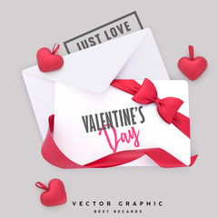 Valentine Envelope and Gift card. Valentines Day background with red ribbon bow and hearts. Flat lay vector template.