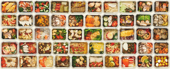 Photo sur Plexiglas Nourriture Set of take away food boxes at white background