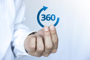 mano, 360, freccia, globale, completo