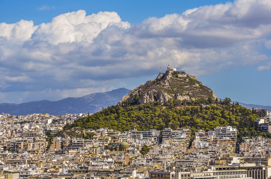 Monte lycabettus and city of athens
