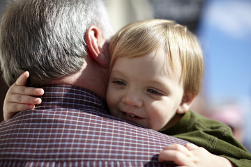 Grandson Hugging Grandfather