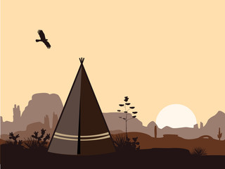 Indian wigwam silhouette with cacti, mountains, and eagle in the sky. American landscape with tribal tents