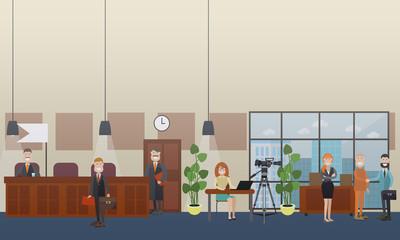 Court hearing concept vector flat illustration