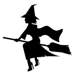 beautiful lady witch on broomstick silhouette