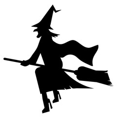 witch flies on broomstick, halloween iconography
