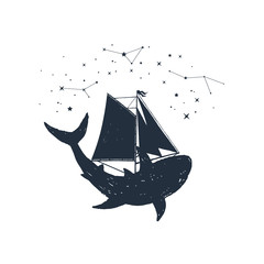Hand drawn nautical badge with shark, sails and constellations textured vector illustrations.