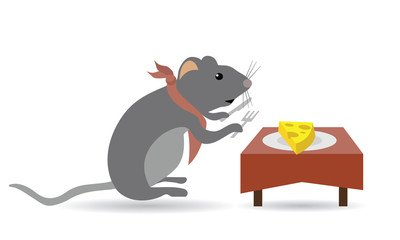 mouse eating cheese on table with fork and knife