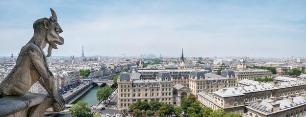 Fotomurales - Panorama Blick auf Paris von der Kathedrale Notre Dame
