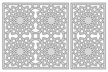 Template for cutting. Geometric flower pattern. Laser cut. Set ratio 1:2, 1:1. Vector illustration.